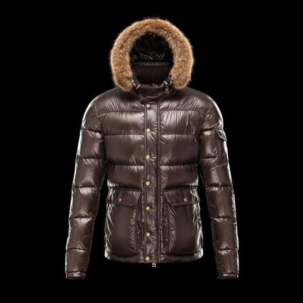 Настоящий енот меховой воротник капюшон зимняя куртка мужчины белая утка вниз два практических больших кармана коричневый вниз парка мужской свет пальто