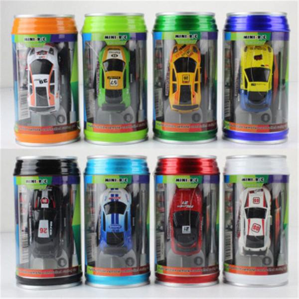 Free Epacket 8 color Mini-Racer Remote Control Car Coke Can Mini RC Radio Remote Control Micro Racing 1:64 Car D0053