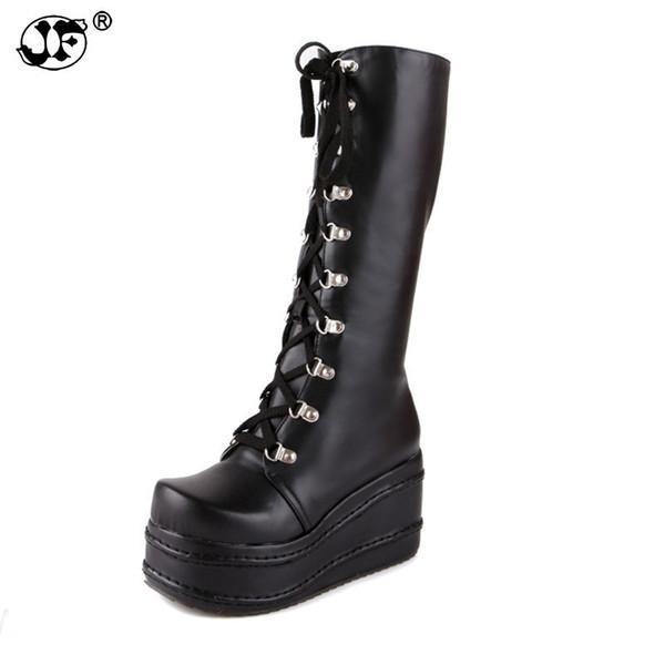 Women Large Size Platform Winter Wedge High Heel Knee High Boots