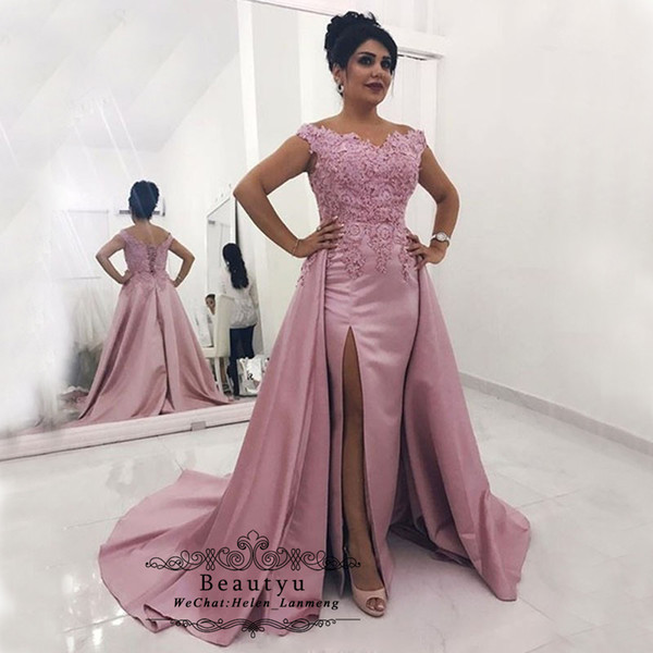 Plus Size Pink Evening Dresses Off The Shoulder High Slit Vintage Lace  Satin Overskirt Long Mermaid Women Formal Evening Gowns 2019 Bolero Jackets  For ...