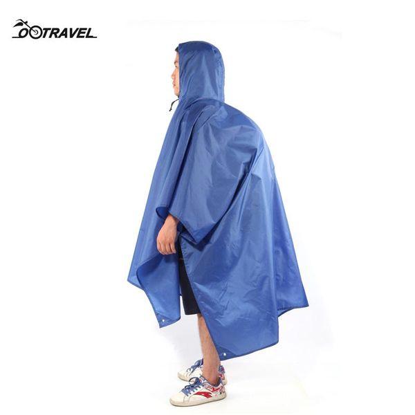 3 em 1 Waterproof Camping Mat Individual Raincoat Outdoor Viagem chuva Poncho Backpack capa de chuva Camping Blanket 220cm * 145cm