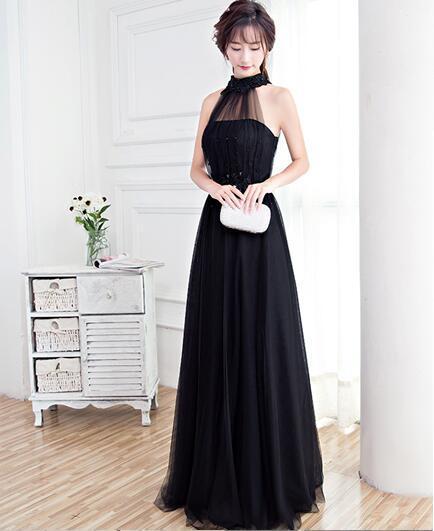 Compre Vestidos Formales Largos Sin Mangas Negros Halter Tul Suave Con Apliques Y Perlas Dama De Honor De Verano Vestidos De Fiesta De Graduación