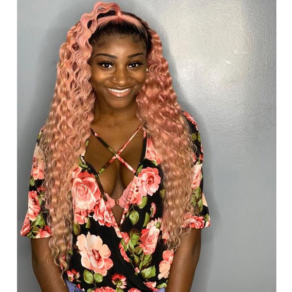 Body Wave Ombre Lace Front peluca para las mujeres negras Pre arrancado con el pelo del bebé Frontal humano Remy Hair Pink Lace Wig