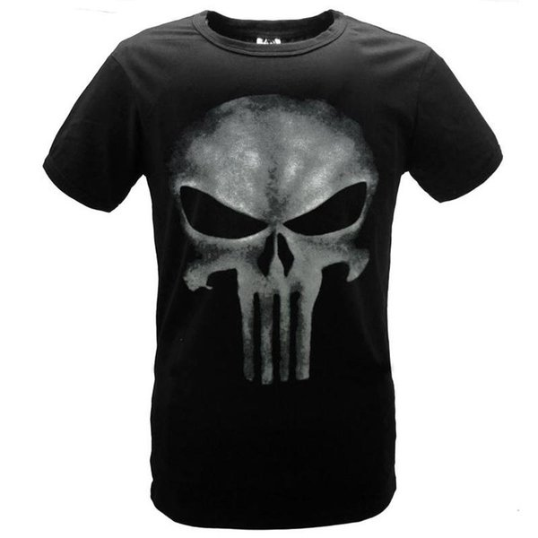 Cool Style THE PUNISHER Skull T Shirt The Punisher Black Slim Print O-neck Short Sleeve T-shirt Men Top Tees For men Summer