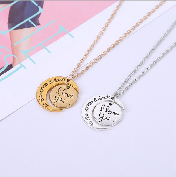 7Styles I Love You To The Moon and Back Necklace 1pcs/lot Lobster Clasp Hot Pendant Necklaces