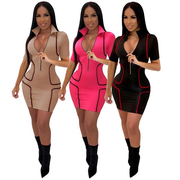 ladies explosion models Europe and the United States hot fashion V-neck short-sleeved skirt women's sexy one-piece dress