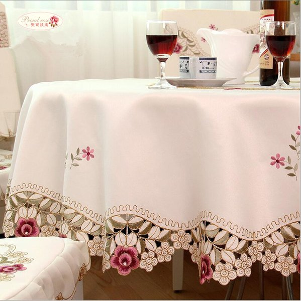 Fier Rose Rond Nappe Beige Nappes Brodées Table Cover Home Cuisine Fournitures De Table Décoration T8190620