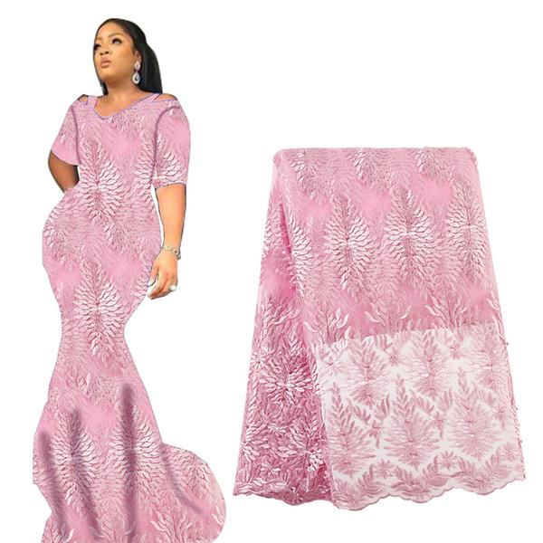 Tessuto di pizzo con perline africano blu royal 2019 Tessuto di pizzo voile di tulle francese con tessuto di pizzo nigeriano per perle per la festa nuziale