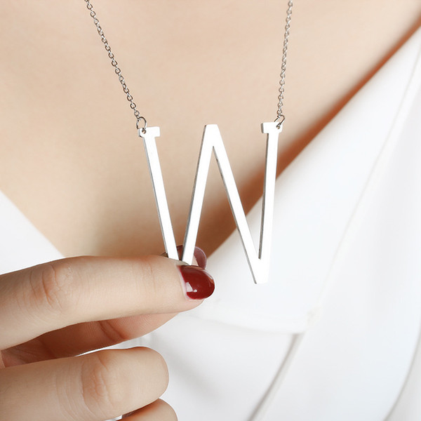 Hot new Stainless Steel A-Z English Alphabet Initial Necklace Silver Gold Plated Capital Letter pendant Fashion Jewelry for Women WCW154
