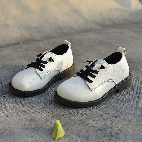 Spring Autumn 2018 Genuine Leather Shoes Boys Kid School Shoes Children Girls Big Boys Loafers Quality Black White Girls Sneaker