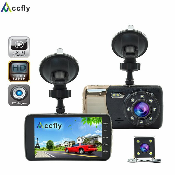 Accfly 4.0 inch car DVR DVRs dash cam camera recorder video registrator Dual lens Full HD 1296P IPS Screen 170 Degree