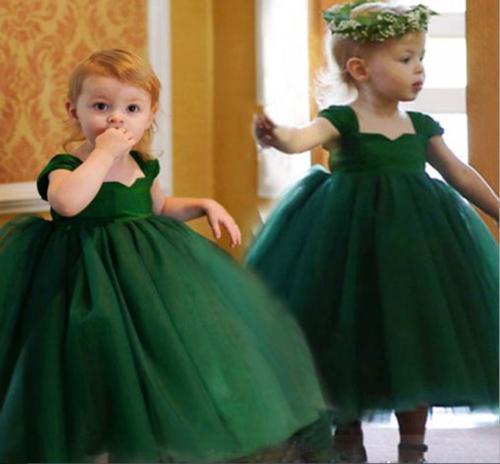 Lunghezza verde smeraldo di sfera delle ragazze di fiore abiti di Tulle della caviglia Bebè Bambino Bambine Pageant abito per compleanno di cerimonia nuziale FG56