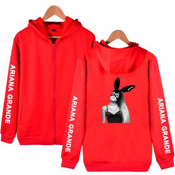 2019 LOVE Ariana Grande para Trend Sala Sala Oversize Zipper Hoodies Sudaderas Hombres / Mujeres Hot Casual Carta Imprimir Hip Hop Hoodie Ropa