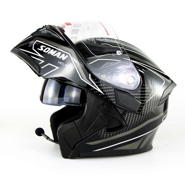 SOMAN 955-BT Street Racing Motorcycle Flip Up Helmet Built-in Bluetooth Motorbike Helmet Casco Motor Capacete DOT Approval