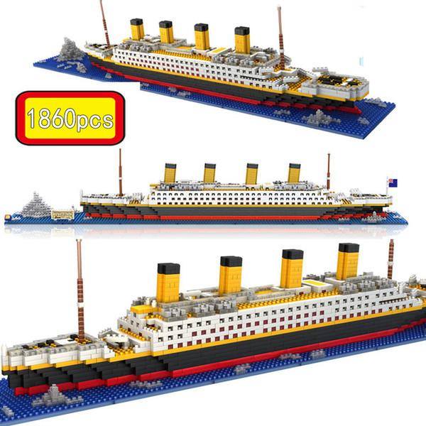 top popular 1860 Pcs Assemblage Titanic Sets Cruise Ship Model Boat DIY Building Diamond Mini Blocks Kit Children Kids Toys 2021