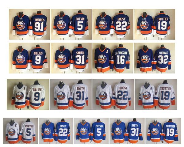 Vintage Buffalo Sabres Forması 5 Denis Potvin 9 Clark Gillies 22 Mike Bossy 19 Kayalık Trottier 31 Billy Smith 91 John Tavares CCM Retro Hokey