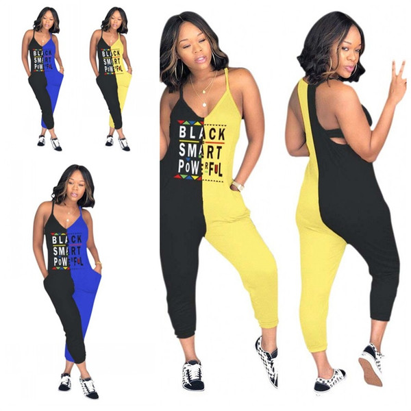Women Sexy Jumpsuit Two Color Stitching Letter Printing Sleeveless V Neck Length Rompers Home Clothing New Arrival 39mdE1