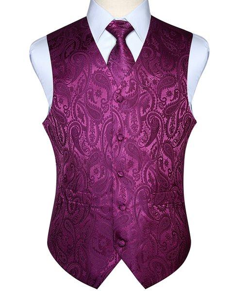 Hombres Chaleco Chaleco Del Partido de la Boda Pañuelo Corbata Clásico Paisley Plaid Floral Jacquard Pocket Square Tie Suit Set Q190516