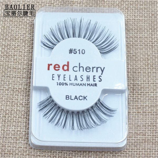 Red cherry natural long eye-shaped micro-warp false eyelashes light makeup nude makeup handmade cotton thread stem