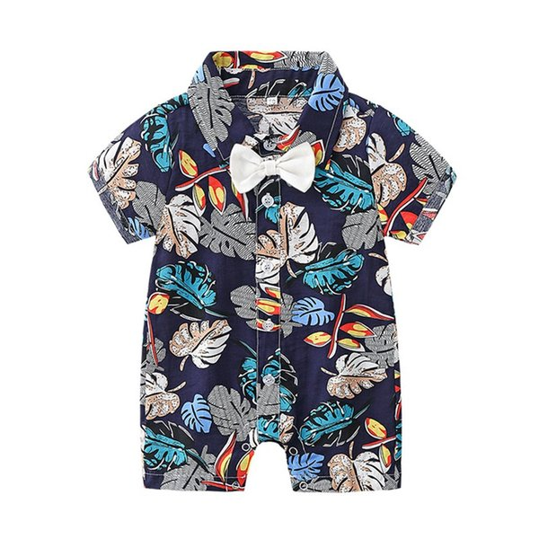 New design baby boy rompers short sleeve leaf printed bow Hawaii Style jumpsuit boutique fashion kids clothes 0-2T