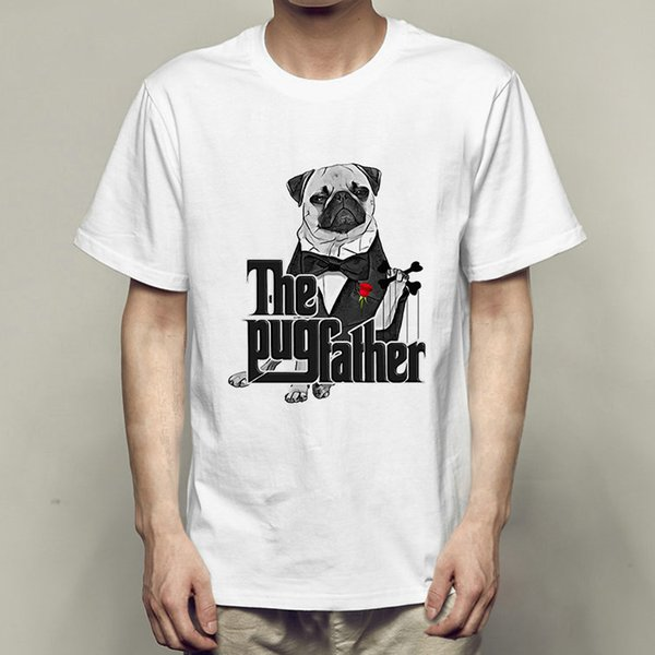 Godfather t shirt The pug father short sleeve gown Funny dog style tees Fastness printing clothing Quality modal Tshirt