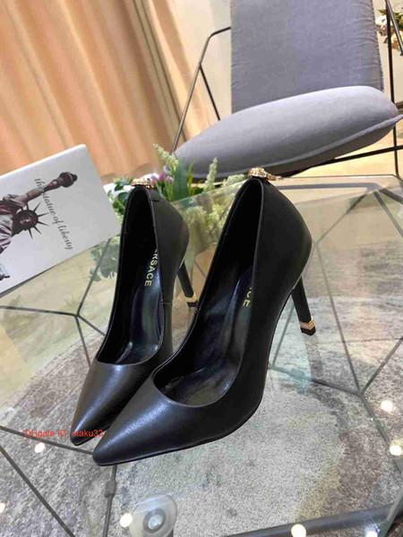 Модельер Женщины сафьян насосы кожа Pearl Высокие каблуки платье обувь Lady Black Одиночные обувь