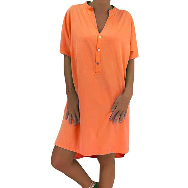 1a254547b5cd ISHOWTIENDA Dress Summer Women Woman Summer Dress V-Neck Short Sleeve  Buttons Loose Button vestidos