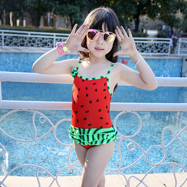 cute baby girl swimwear one piece watermelon model 85-100cm/2Y girls swimsuit kid/children swimming Suit free shipping