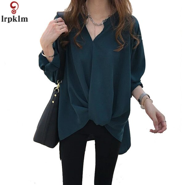 women chiffon shirt longsleeve v-collar blouse for female irregular tails 2018 new women spring clothing m-5xl as156