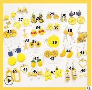 Зеленые желтые цветы кисточкой серьги стержня геометрия фрукты любовь серьги смешанные партии летние серьги аллергия дешевые подарки 1013