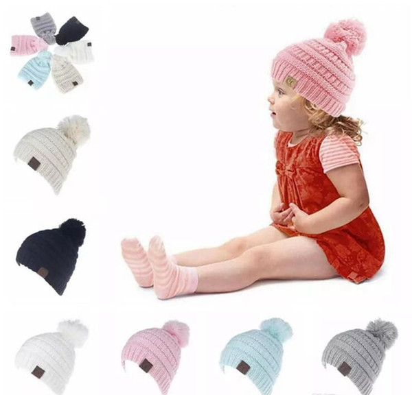 CC Child Winter Autumn Knitted Hat Beanies Pink Beanies Kids Girls and Boys Warm Pom Pom Caps for Children Christmas Gifts 100pcs