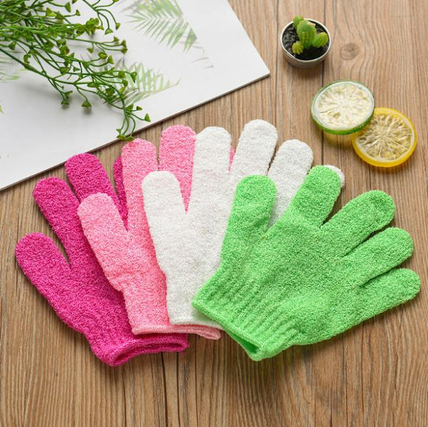 best selling Shower Bath Gloves Five Fingers Exfoliating Spa Bath Gloves Body Massage Cleaning Scrubber Candy Colors Bath Towel 7 Colors DW4874