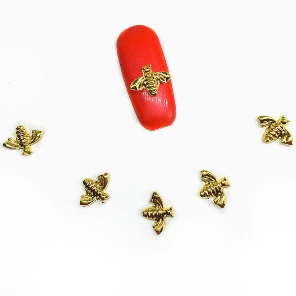 100Pcs Bee Gold Nail Art Decorations 3d Charms Dekors Bling Insects Nailart Supplies Kawaii Metal Accessories for Nails Design