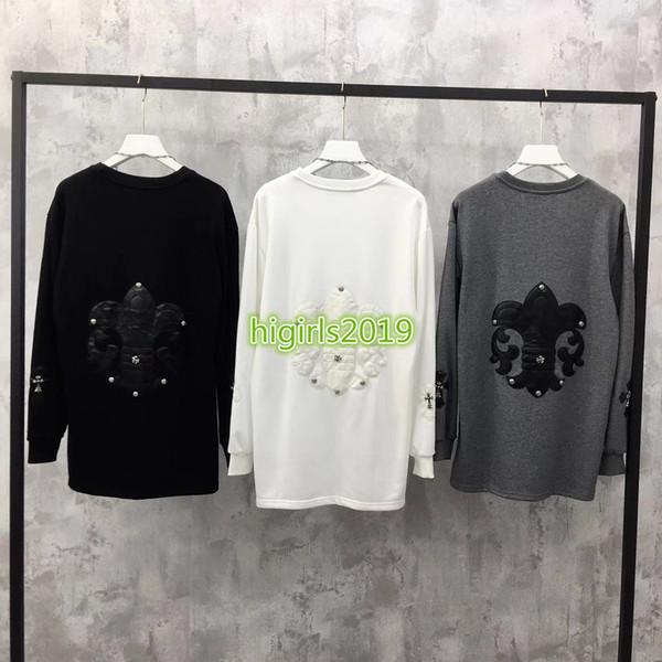 High End Damen Mädchen Oversize Sweatshirt Kreuz Patch Halskette Rundhalsausschnitt Langarm Bluse Shirt Mailand Mode Design Luxus Pullover Tops