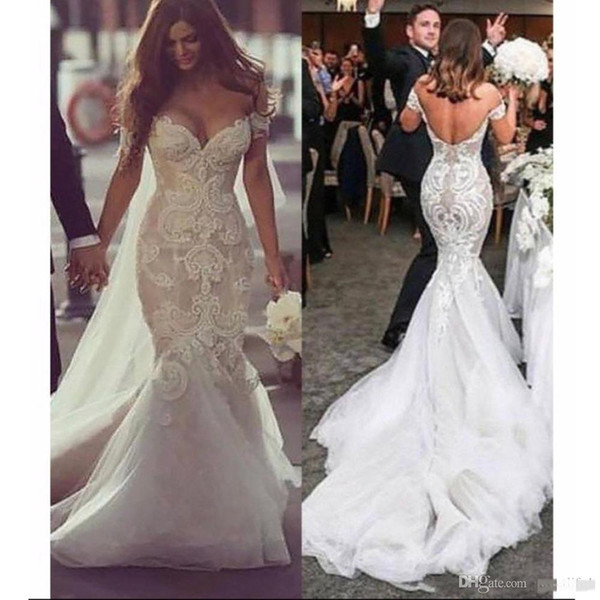 best selling Sexy Lace Mermaid Wedding Dresses 2019 Appliques Sweetheart Off Shoulder Blackless Plus Size Fashion Bridal Gowns