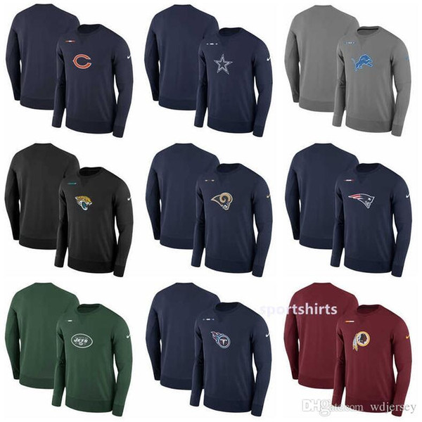 timeless design 5451c ef657 2019 New Chicago Bears Sweat Detroit Lions Jacksonville Jaguars Patriots  New York Jet Titans Sideline Team Logo Performance Sweatshirt Hoodies From  ...
