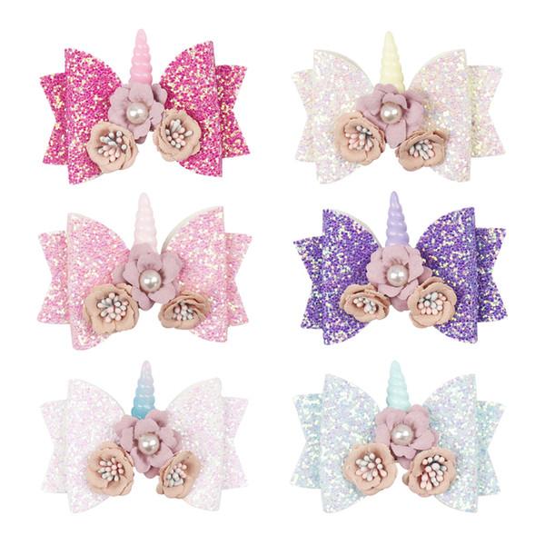 """3"""" Hair Accessories Hair Bows Girls Clips Glitter Baby Hairpins with Flowers Pearl Horn Handmade Headwear Hair Barrettes"""
