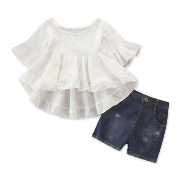 Moda Infantil Baby Girl Sólidos Macios Roupas Frescas Andorinha Princesa Tops + Shorts Jeans 2 PCS Outfit Roupas de Verão Conjunto