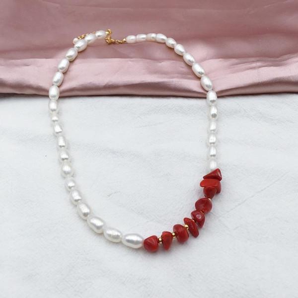 100% Nature Bijoux en perles Collier perles d'eau douce pour collier femmes Bijoux agate rouge cadeau