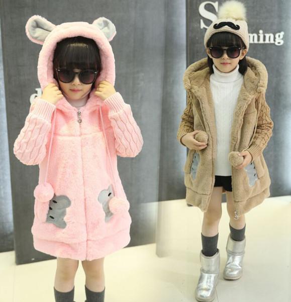 top popular Hotsale Girl's faux Fur Thickened Coat Jackets kids Sweater Parka Jacket Zippy Rabbit Ears Hoodies Winter Autumn coats sx03 buy for princess 2021