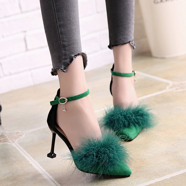 New Type One-word Button Women's Fur Shoes, Tip-headed Cat-heeled Women's Shoes, Super High-heeled Shoes, Shallow Mouth