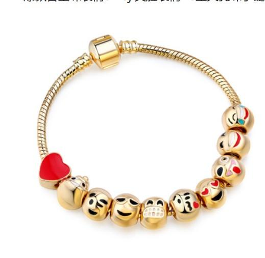 Free Shipping Smiling Emoji Beads DIY Charms Bracelet 18k Gold Plated Expression Bangle European Charms Bracelets Christmas Emoji Bracelet