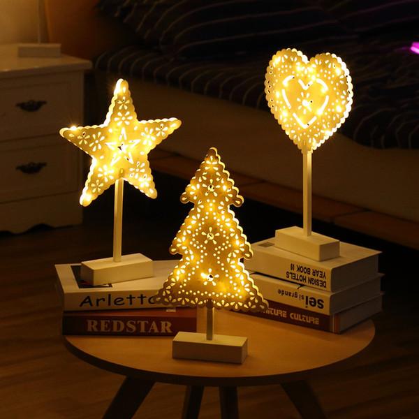 Creative LED Étoiles Lampe Arbre De Noël Abajur Night Light Lampe De Bureau pour La Maison Festival De Mariage Décor À La Maison Nuit Lampe À Piles