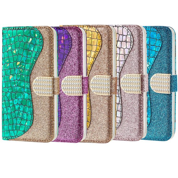 Bling leather wallet purse pouch for iPhone 8 8P 7 7P 6 6S X XR XS Max for iPhone8 iPhone7 8Plus 7Plus 6Plus
