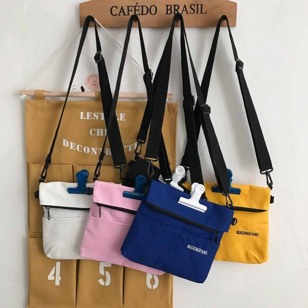 letter canvas bag for woman small shoulder bag fashion messenger package simple phone purse ladies casual zipper square sac