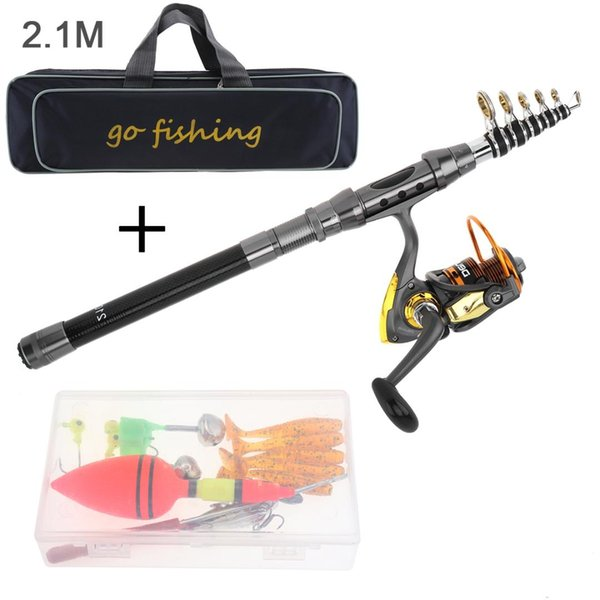 Langlebige 2.1m Angelrolle Combo Full Kits 2000 Spinning Reel mit Angeltasche Soft Lures Float Hook Jig Head