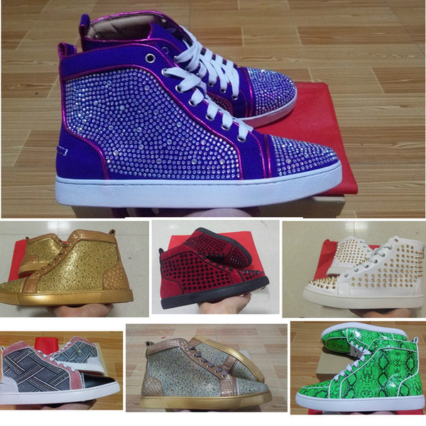 Men Red Bottom Spikes shoes for men women puple white gold Rhinestone High Top Spring/Autumn Flats Sneakers snake print