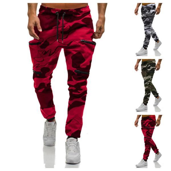 Cargo Pants Mens Camouflage Multi-pockets Joggers Red Hip Hop Pants Streetwear Men Cotton Harem 2019 New