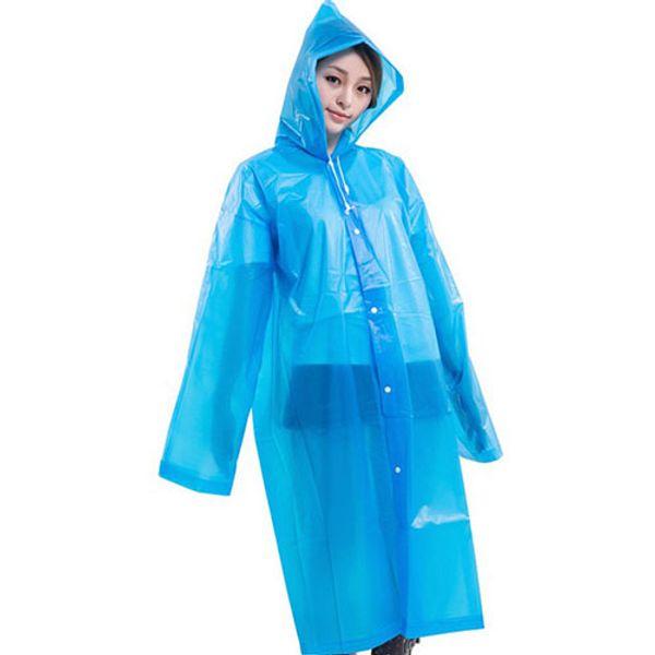 Fashion Women men EVA Transparent Raincoat Portable Outdoor Travel Rainwear Waterproof Camping Hooded Ponchos Plastic Rain Cover