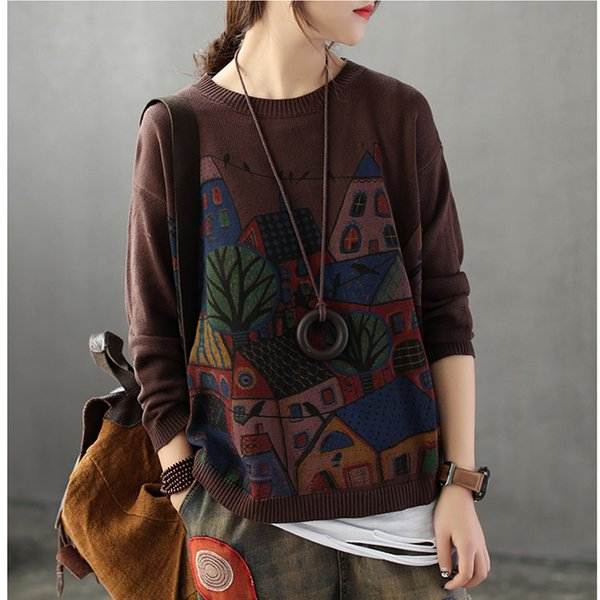 Retro Patchwork Loose Cartoon Printing Women Sweaters Pullovers Autumn Winter Long Sleeve Pull Femme Solid Pullover Female Abz40 Y190823